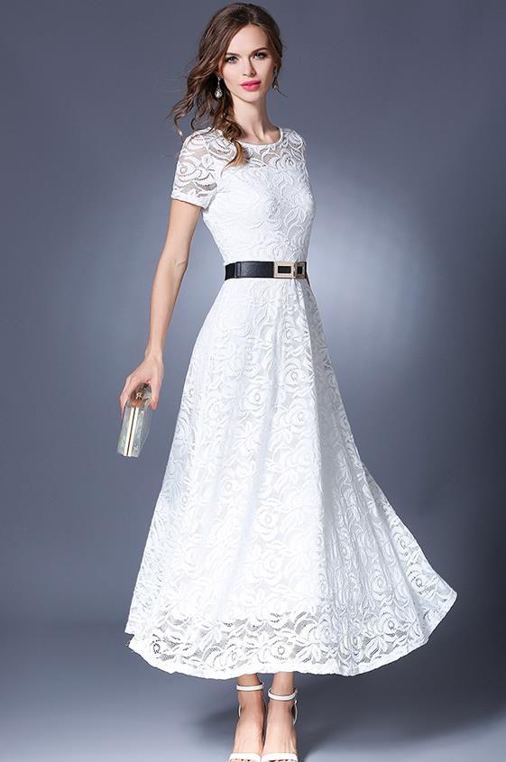 Бесплатная доставка Европейский дизайн Однотонная одежда круглый вырез горловины плюс размер S XXL кружевное длинное платье черный и белыйкупить в магазине Sunny  Zhu's store(  Exquisite  High-quality  Fashion) наAliExpress
