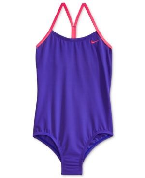 Nike 1-Pc. Core Racer-Back Swimsuit, Little Girls (4-6X) & Big Girls (7-16) - Blue 12