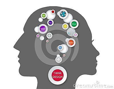Problem solving technique, how men and women are thinking, studying mind map with questions: What?, Why?, How?, Where?, Who?, When?. People face head silhouette graphic  on white background vector illustration.