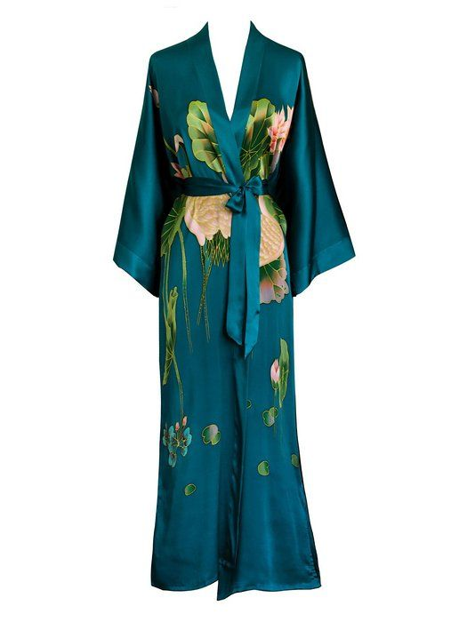 Old Shanghai Women's Silk Kimono Long Robe - Handpainted - Cherry Blossom White
