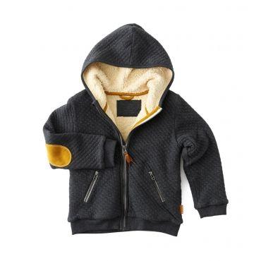Grijze vest met okergele elleboogpatch - Mister Monkey and Misses Butterfly - Little Label - AW16 - Boys - Girls - Jacket - Vest - Pattern