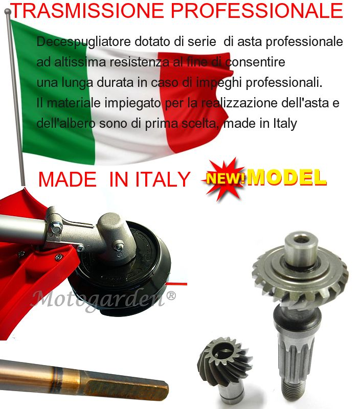 Alcuni decespugliatori sono dotati di tecnologia e meccanica Italiana per una lunga durata di tutte le parti.