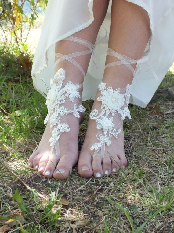 bridal anklet 3D flowers anklet Beach wedding by WEDDINGHome, $30.00