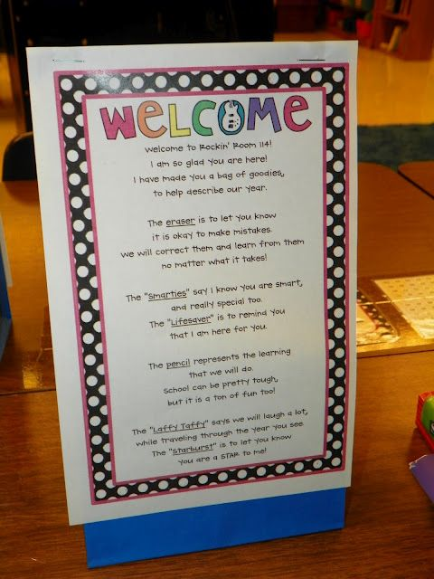 Welcome poem and back to school goody bag. LOVE IT!!!!!!!!!