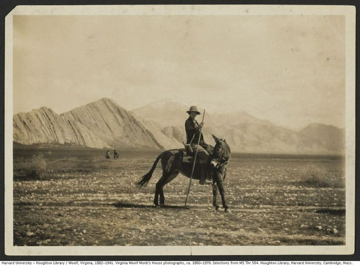 Vita Sackville-West on a donkey (1926?). From the Virginia Woolf Monk's House photographs.