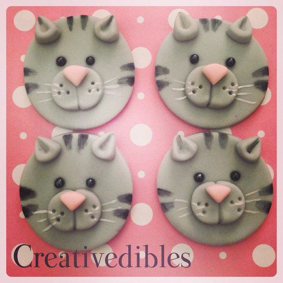 Kitten, Cat Fondant cupcake Cookie toppers on Etsy, $24.00