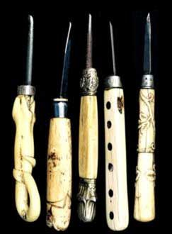 Photo: Five of Charles Edenshaw's bone, haliotis and iron jewelry carving tools - Charles Edenshaw, (Tahayghen), (c. 1839-1920) Engraving tools 1870 Bone, haliotis shell inlay, iron Collection of the UBC Museum of Anthropology, Vancouver, Canada Photo: Linda Stanfield