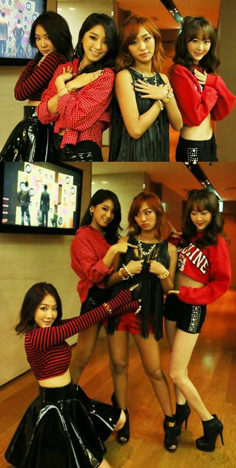 Sistar members Bora, Soyou, and Dasom supporting Hyorin