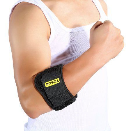 Yosoo Arm Brace Support Elbow Band Wrap Counterforce Adjustable Strap Protector Forearm Guard for Tennis Golfer Tendonitis Muscle Tissue Joint Pain Relif with Compression Pads for Men Women
