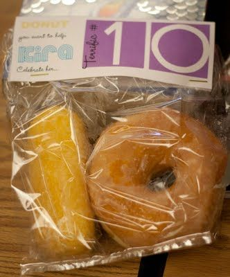 donut and twinkie... originally for a 10th birthday but could also be used for the 10 or 100th day of school!
