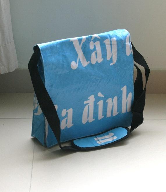 messenger bag from recycled vinyl billboard