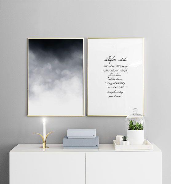 Poster mit Wolken im Graphic art-Stil | Stilvolle Poster und Plakate für die Inneneinrichtung