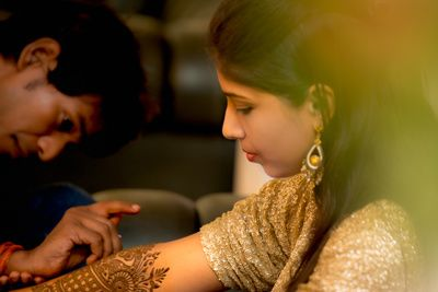 Khushboo & Praveen Engagement - Photo courtsey~ iPic Frames   Intricate Mehendi Designs  #wedmegood #mehendi #designs