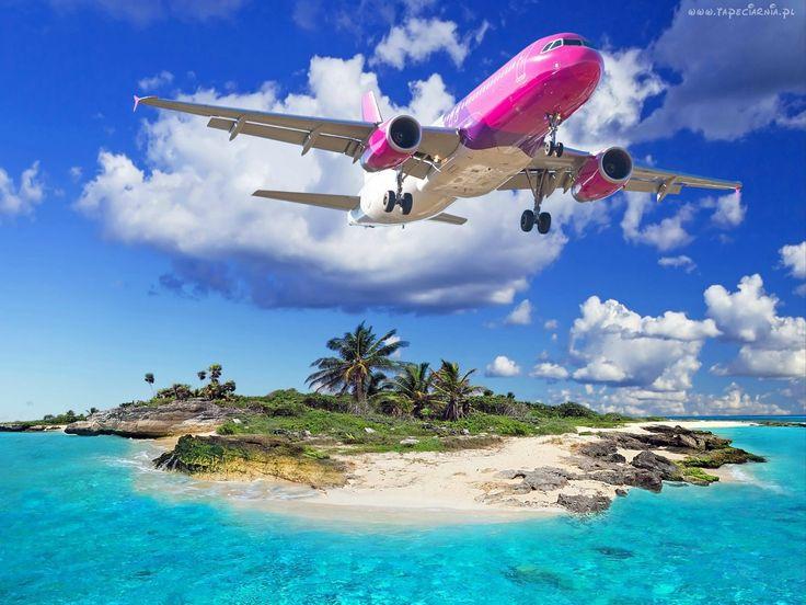 Wysepka, Palmy, Skały, Samolot, Ocean