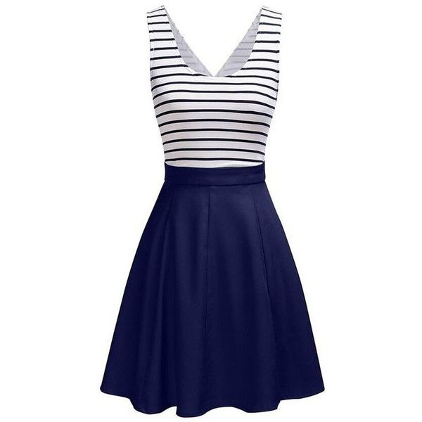 Back Faux Wrap Cutout Stripe Skater Dress (67 BRL) ❤ liked on Polyvore featuring dresses, blue cut out dress, skater dresses, striped dresses, blue stripe dress and cut-out skater dresses