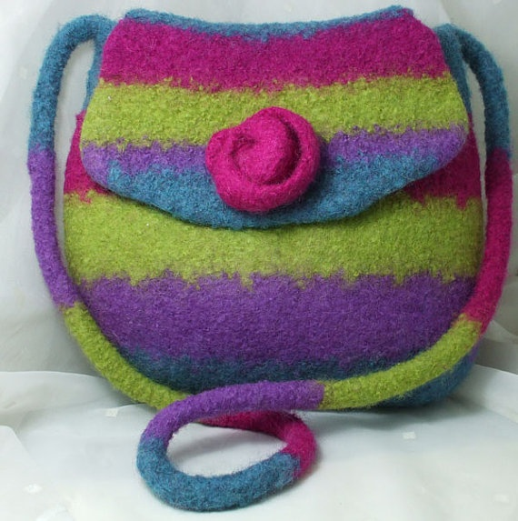 Felted wool satchel style bag Purple  LimeTeal Pink by Clasibags, £36.00
