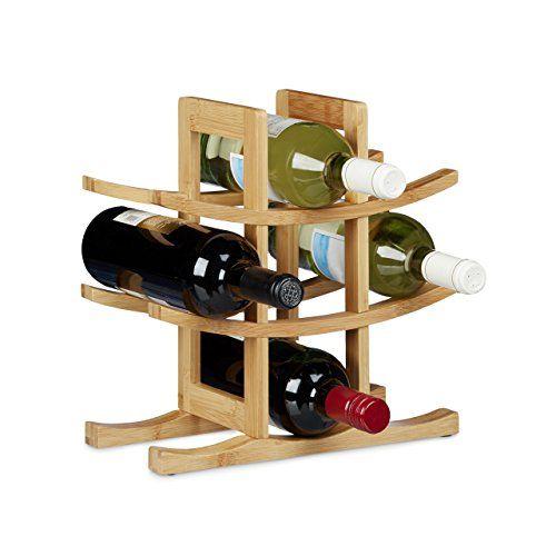 Relaxdays Weinregal Aus Bambus, Für 9 Handelsübliche Flaschen, Originelles  Design, Freistehend, HBT