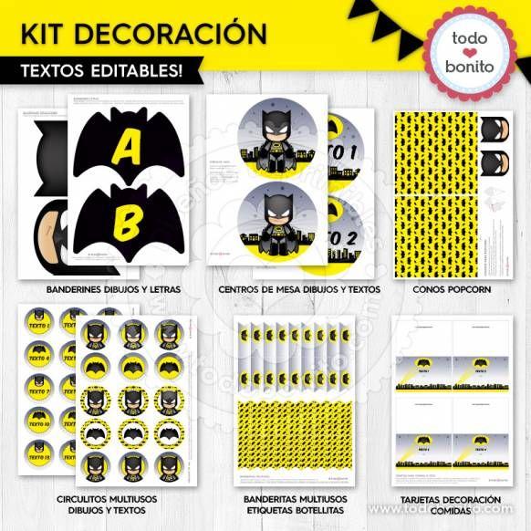 Batman: decoración de fiesta para imprimir