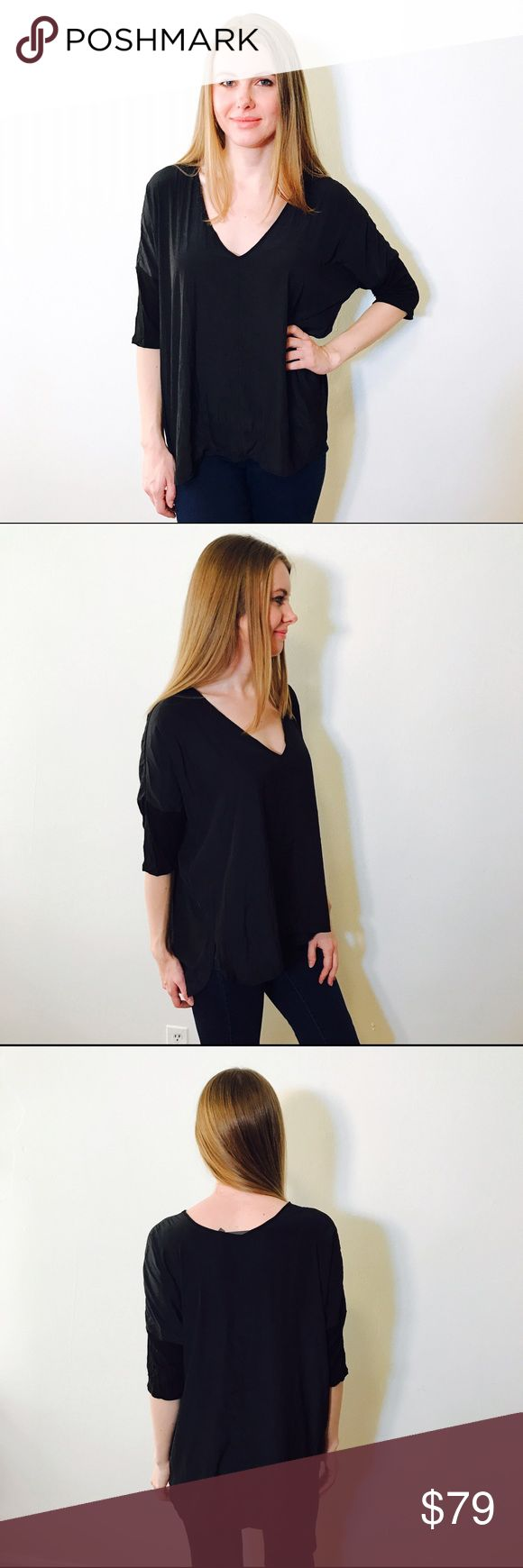 """FEEL THE PIECE BLACK BATWING SILK BLOUSE #1014 EUC, no issues. Size is """"One size"""" will fit XS-L Feel The Piece Tops Blouses"""