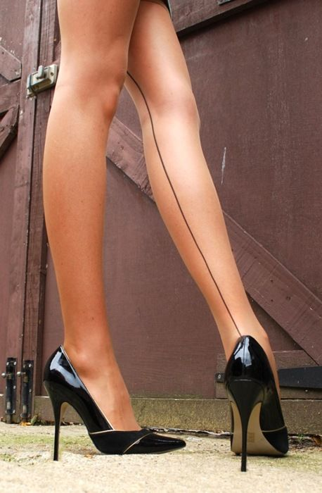 @}-,-;-- great legs, sexy seamed stockings and classic black patent high heel pumps, never go out of style: