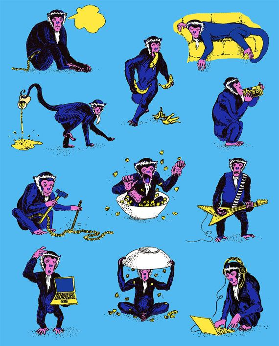 12 Funny Monkeys Blue Brown Black & White Print by MerunaArt #monkey #drawing #funny #animals #blue #guitarist #bananas #etsy #art #prints #affordable