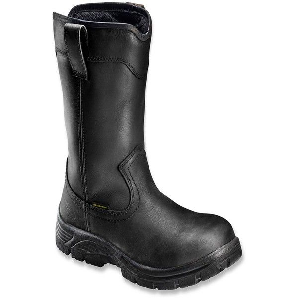 "Avenger Safety Footwear Men's 7847 11"" Tall Comp Toe Wp Pull On Boot... ($110) ❤ liked on Polyvore featuring men's fashion, men's shoes, men's boots, men's work boots, black, shoes, mens wellington boots, mens black rain boots, men's wellington work boots and mens black slip on boots"