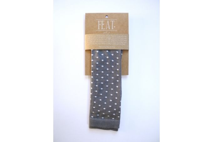 Men's grey/white polka dot sock by FEAT. sock co.
