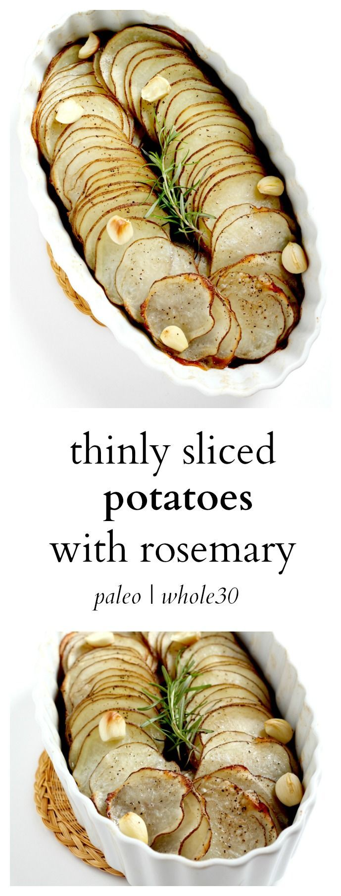 These potatoes topped with rosemary and garlic are flavor and so crispy! They are a great whole 30 potatoes recipe that go with almost any entree.