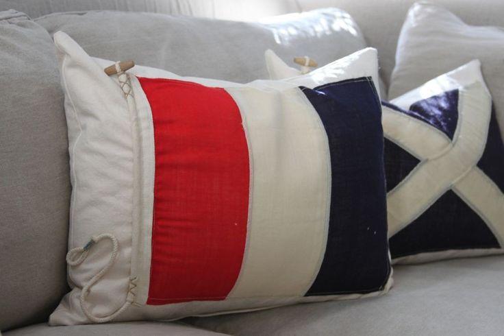 Nautical flag pillow: Google Image, Nautical Flags, Nautical Signals, Nautical Decor, Barker Bungalows, Floors Ideas, Luv Summer, Signals Flags, Flags Pillows