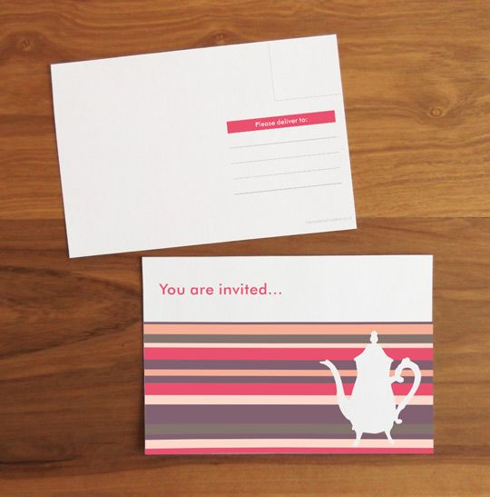 ティーパーティーのために印刷可能なはがき招待状                                                                                                                                                                                 もっと見る
