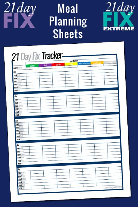 Free printable 21 Day Fix meal planning sheets | 21 day ...