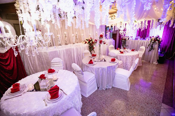 Red, whites and crystals transformed what once was a  bar into a opulent wedding venue fit for a princesses. @clasys