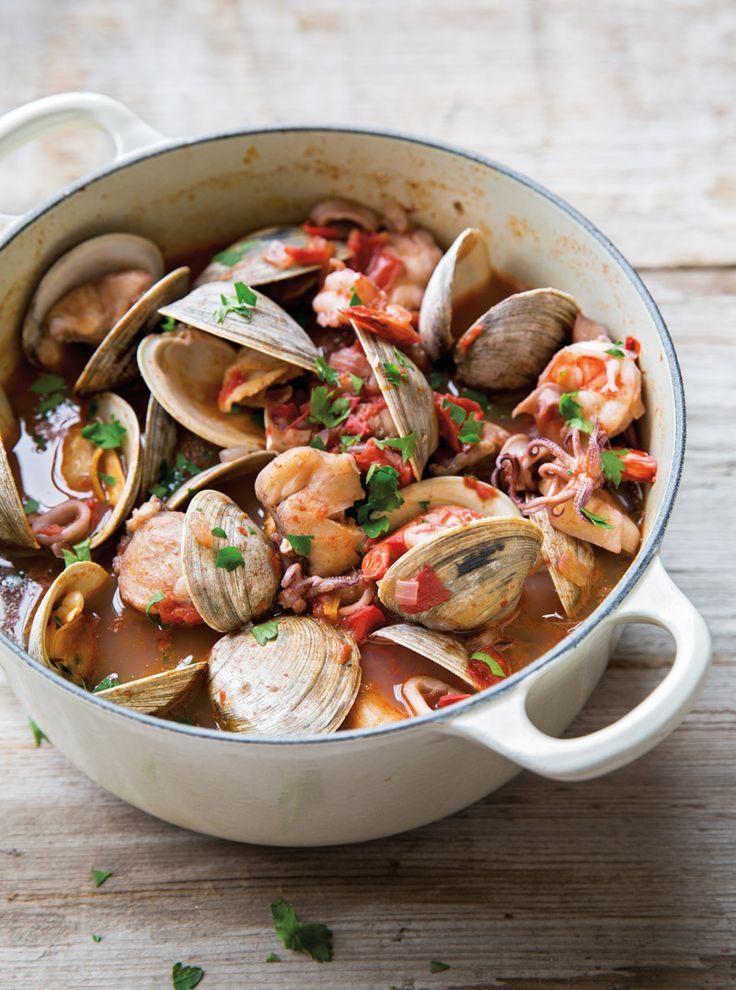 This dish makes for a fast and healthy lunch or dinner -- shellfish are a source of lean protein, and they cook quickly in the tomato-based stew. The ingredients pick up the flavors of garlic, red ...