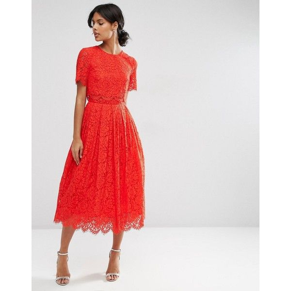 ASOS Lace Crop Top Midi Prom Dress (£88) ❤ liked on Polyvore featuring dresses, red, red lace dress, cocktail prom dress, calf length dresses, lace midi dress and prom dresses