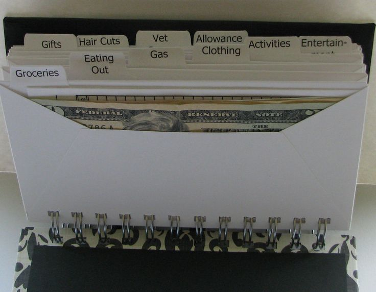 """Envelope System Wallet. I'm introducing the newest of my organizing tools. This tool will help you organize your cash system. My husband and I have recently completed the Dave Ramsey Financial Peace University, and I knew I had to make a personalized envelope system for myself, so that's how this item came to be. My envelope system has covers made from durable 1/8"""" chipboard, covered with patterned paper. Each system consists of 10 envelopes measuring 6 5/8 x 3 ½ inches. Each envelope is…"""