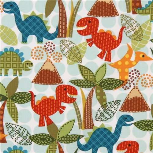 dinosaur fabric for boys Michael Miller turquoise dots 1