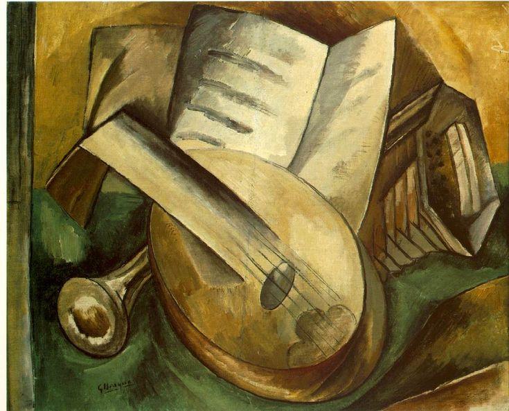 George Braque: Georgebraque, 1908 Cubismo, Oil On Canvas, Music Instruments, George Braque, Instruments 1908, Instrumento Music, Georges Braque, Braque Music