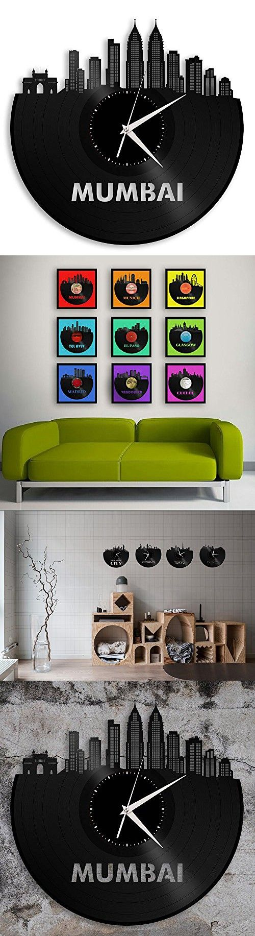 Cityscape Clock Mumbai Vinyl Wall Art Personalized Unique Present Custom Retro Vintage Art for New Year Anniversary for Men Women Father Mother Best Friends Apartment Room Home Office