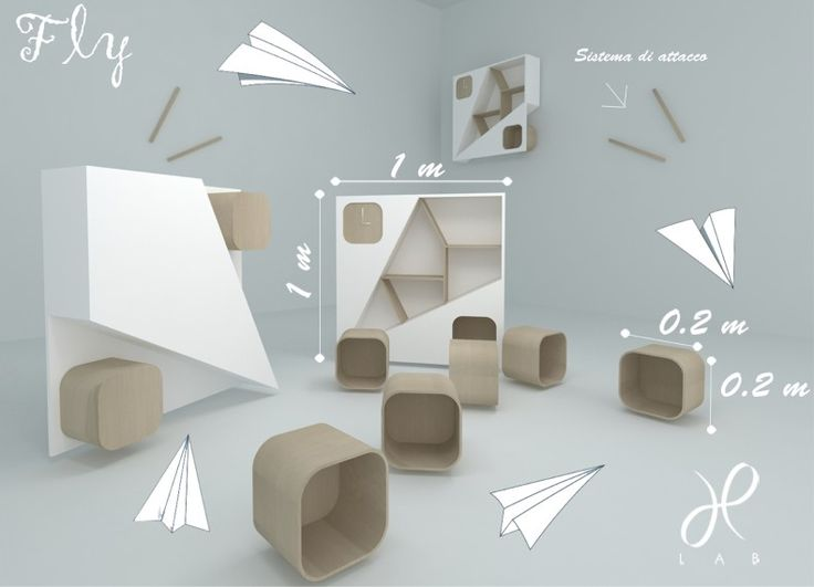 Formabilio - .....pensata con la stessa spensieratezza con cui i bimbi costruiscono aeroplanini di carta....una libreria...un porta oggetti....con un piccolo orologio...classica in  soggiorno....comoda in camera da letto...casual!