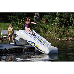 @Overstock - Rave Sports Dock Slide - This inflatable dock slide from Rave Sports makes an great addition to a poolside deck or lake dock for a summer full of fun. Made from PVC, this slide will withstand the test of time and provide hours of enjoyment for your kids all summer long.    http://www.overstock.com/Sports-Toys/Rave-Sports-Dock-Slide/6622491/product.html?CID=214117  $449.99