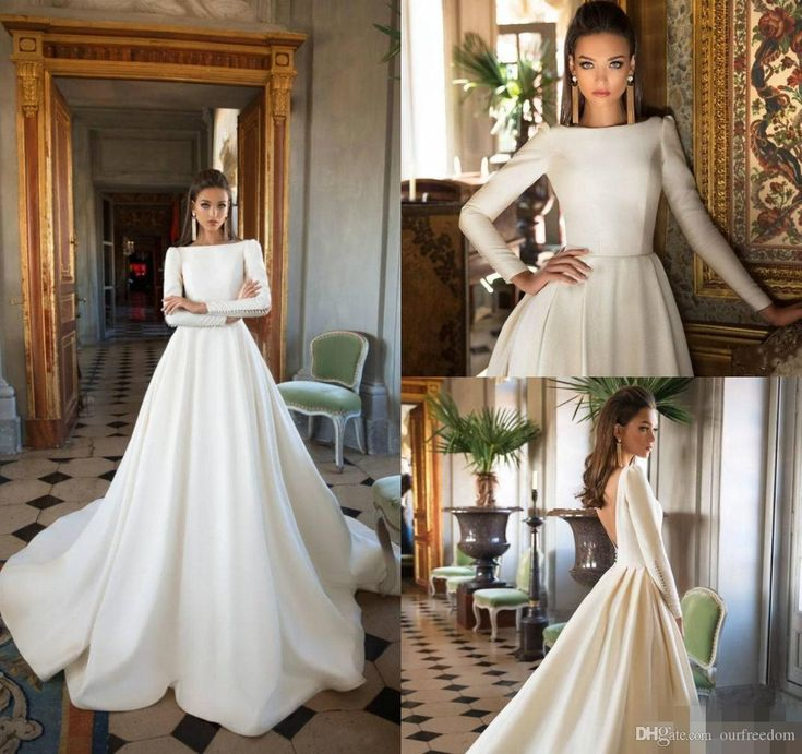 2018 A Line Satin Wedding Dresses Long Sleeves Backless Sweep Train Bridal Gowns Beach Country Wedding Gowns