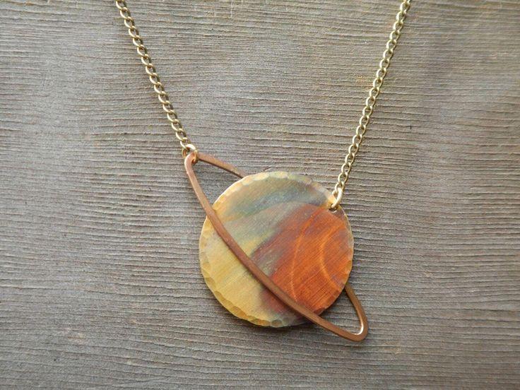 Small Saturn Necklace, Capricorn Necklace, Aquarius Necklace, Hammered Copper Ne…