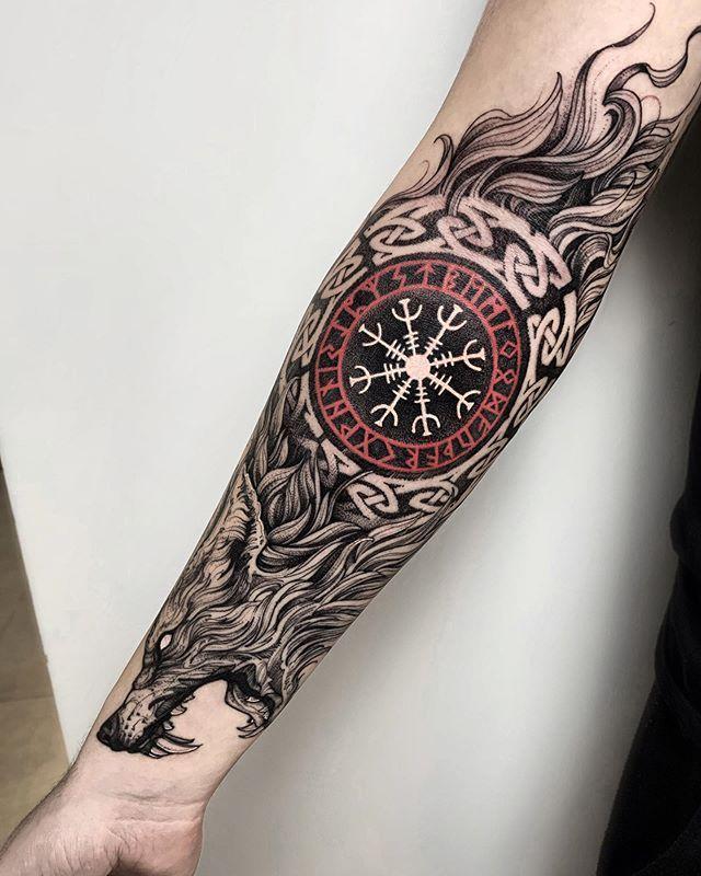 Viking Wolf Actualtattoos Tattoos For Guys Hand Tattoos Viking Tattoo Sleeve