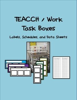Included in the packet are the materials I used to set up my TEACCH / work task station in my classroom (schedules, labels, and data sheets)