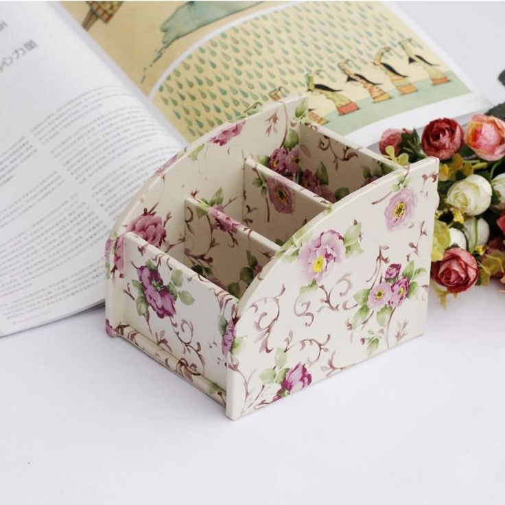 Small size white red flower PU Leather Storage Box Organizer Holder for phone/remote control/makeup decor gift $16.99
