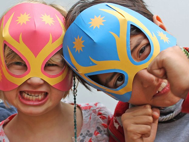 Fab free printable Lucha Libre masks! DIY Luchador for Cinco de Mayo. Photo prop, party favor. Free template here: https://happythought.co.uk/craft-ideas/printables/how-to-make-lucha-libre-masks-free-templates