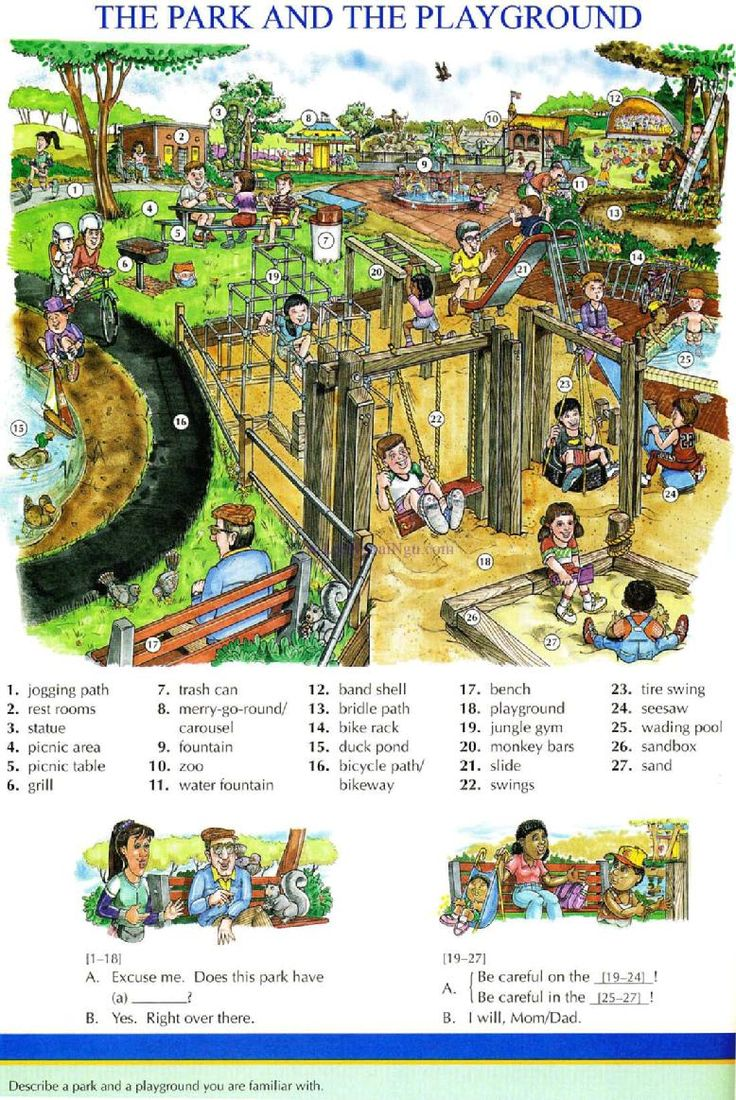 96 - THE PARK AND THE PLAYGROUND - Picture Dictionary - English Study, explanations, free exercises, speaking, listening, grammar lessons, reading, writing, vocabulary, dictionary and teaching materials: