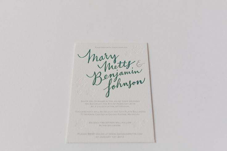 Hand Lettered Letterpress Wedding Invitation