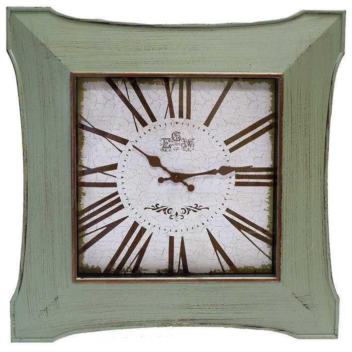 Antique Brushed Green Butterfly Square Wall Clock Green