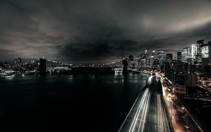 Download wallpapers night, Manhattan, New York, USA, FDR Drive, Franklin D Roosevelt Drive, East River